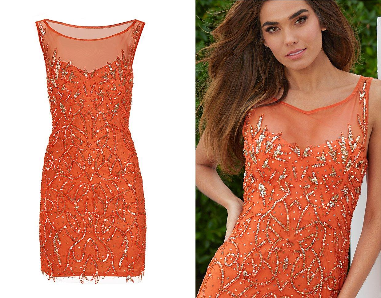 model wearing an orange illusion sleeveless dress with gold sequin embellishments.
