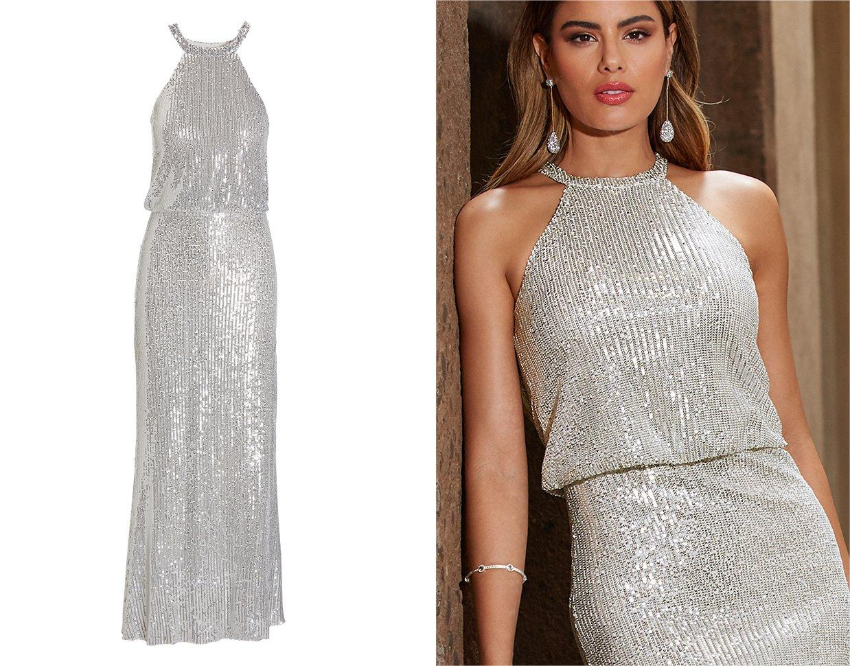 model wearing a silver sequin high-neck gown.