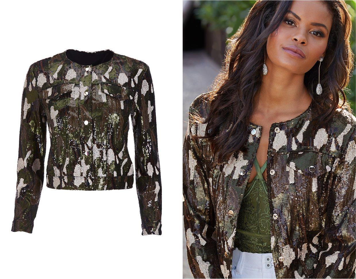 model wearing a sequin camo jacket, olive lace bodysuit, and white jeans.