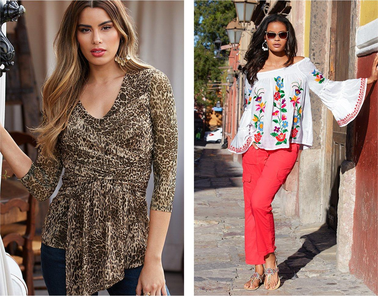 left model wearing a ruched animal print three-quarter sleeve top and jeans. right model wearing a white off-the-shoulder flare sleeve top with floral embroidery, coral cargo pants, embellished sandals, and sunglasses.