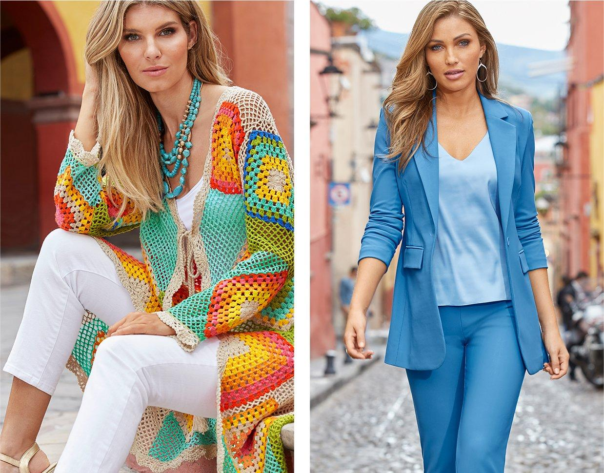 left model wearing a multicolored crochet duster, white tank top, white pants, and turquoise statement necklace. right model wearing a blue boyfriend blazer, blue pants, and a blue v-neck tank top.
