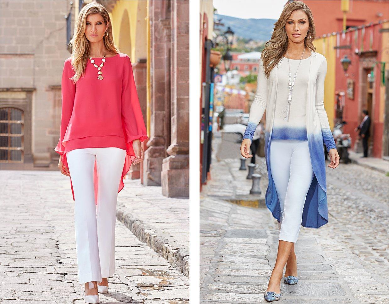 left model wearing a pink hi-lo long sleeve top, white crop bootcut pants, and white vinyl heels. right model wearing a blue and white ombre duster and top combo, white crop pants, and blue tie-dye mules.