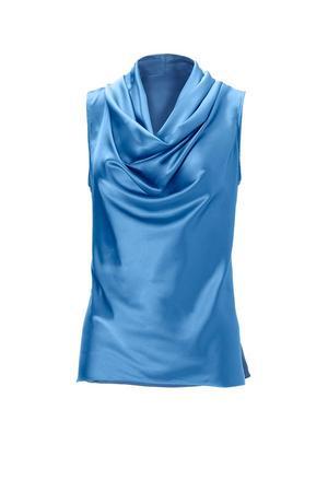 blue sleeveless cowl neck top.