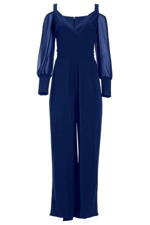 navy cold-shoulder jumpsuit with illusion long sleeves.