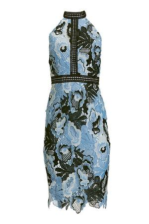 sleeveless mock-neck blue floral lace dress.