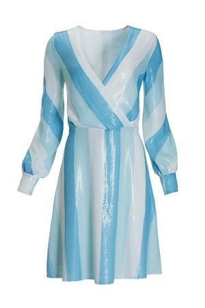 blue sequin long-sleeve surplice dress.