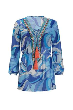 blue printed tunic top with orange tassels.