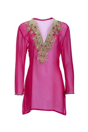 sheer pink embellished tunic cover-up.