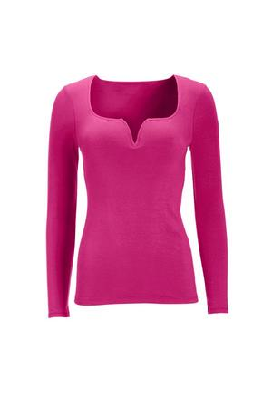 v-neck long sleeve top in pink.
