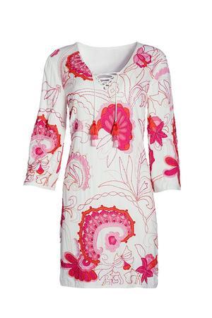 pink and white sea life print tunic dress.