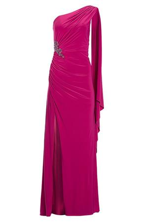 one shoulder ruched pink gown with a brooch.