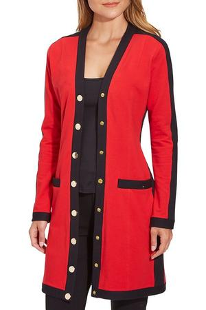 model wearing a red and black cardigan with gold buttons.