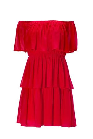 red off-the-shoulder ruffle dress.