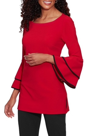 red ruffle and flare sleeve top.