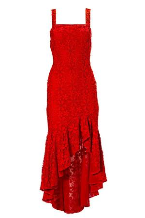 red lace high-low maxi dress.