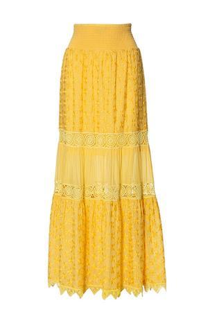 yellow crocheted maxi skirt.