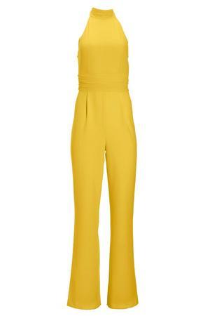 yellow mock-neck jumpsuit.