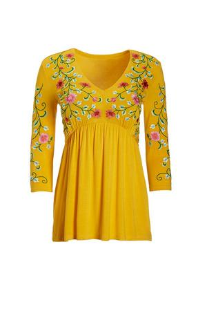 yellow floral embroidered long-sleeve babydoll top.