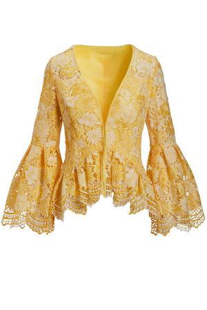 yellow lace flare-sleeve jacket.