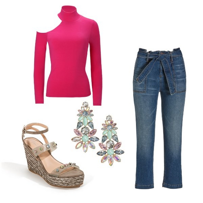 silos of pink asymmetric long sleeve top, pastel floral earrings, jeweled espadrille wedges, and paper bag jeans.