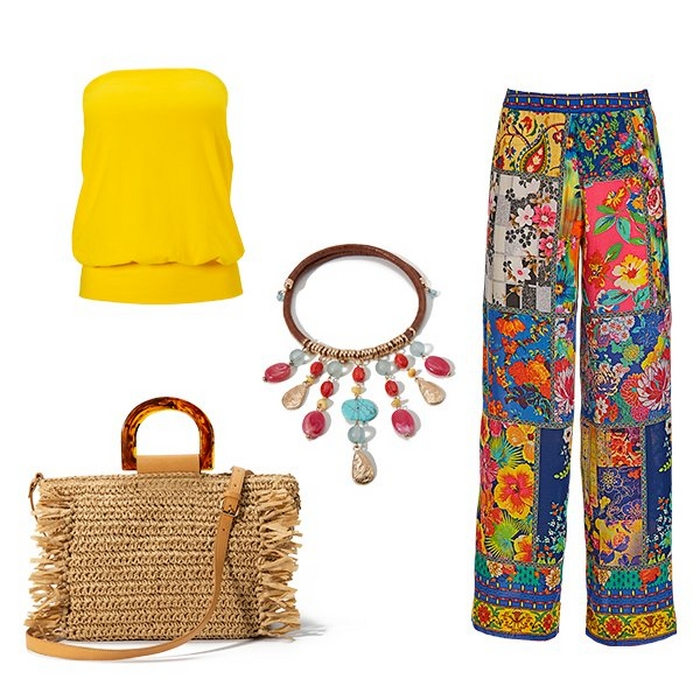 silos of a yellow blouson tube top, paisley patch palazzo pants, a straw handbag, and a multicolored jewel necklace.