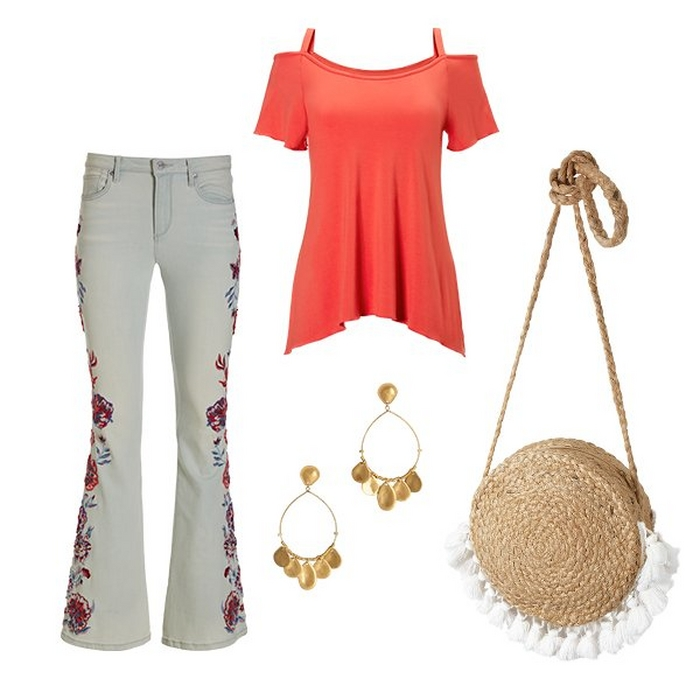 silos of a cold shoulder flutter sleeve top in coral, gold hoop earrings, a straw bag with white tassels, and white flare jeans with floral embroidery.