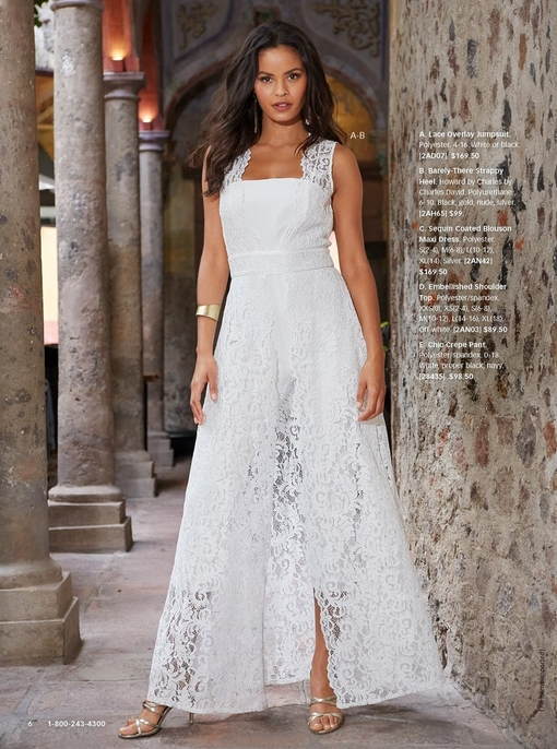 model wearing a white lace overlay jumpsuit with strappy heels.