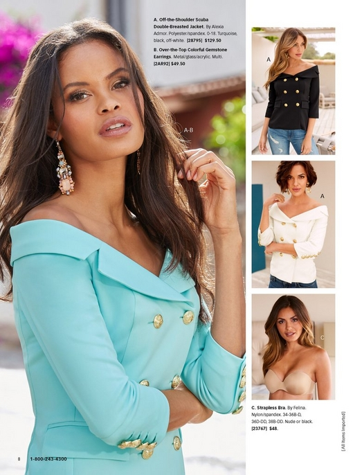 left model wearing a blue off-the-shoulder scuba double-breasted blaze and colorful gemstone earrings. right top and middle model show same jacket in black and white. bottom model showing the strapless bra.