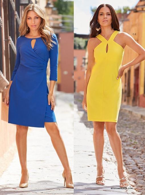 left model wearing a keyhole ruched dress in blue and tan pumps. right model wearing a yellow keyhole short dress and strappy heels.