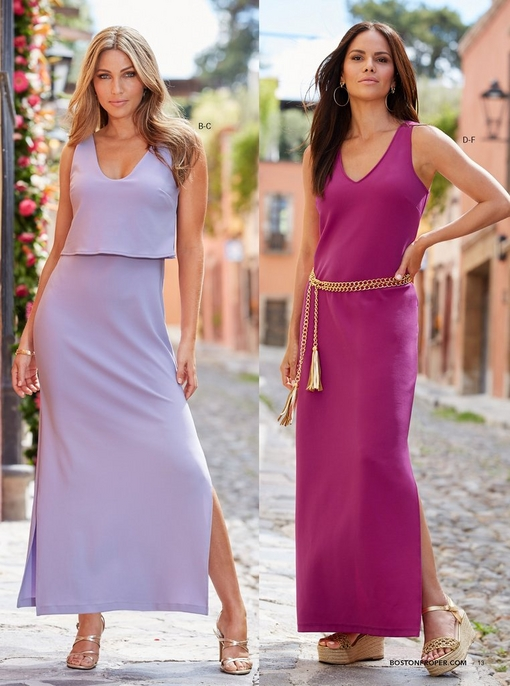 left model wearing a lavender popover maxi dress with gold strappy heels. right model wearing a purple v-neck maxi dress with a gold chain belt and gold espadrille wedges.