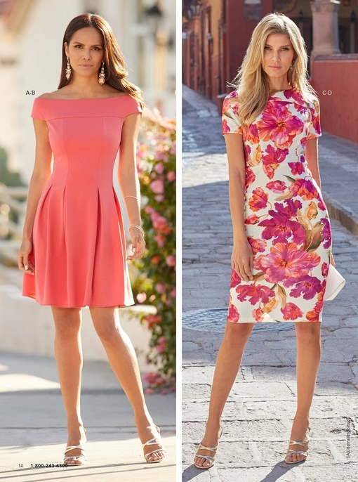 left model wearing an off-the-shoulder fit-and-flare dress in coral with strappy heels and gemstone dangle earrings. right model wearing a vibrant floral-print sheath dress and strappy heels.