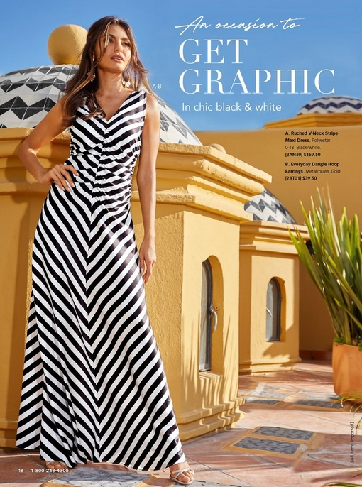 model wearing a ruched v-neck maxi dress with black and white stripes.