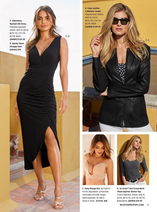 left model wearing a sleeveless ruched slit dress in black with silver strappy heels. top right model wearing a black faux-leather collarless jacket, black and white polka dot top, and white jeans with sunglasses. bottom two images show the plunging bra and black and white polka dot top.