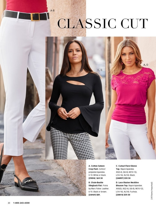left: white cotton sateen crop pant with pink top and slingback flat. middle: model wearing a cutout flare sleeve top in black with gingham cotton sateen pants. right: model wearing a pink lace illusion neckline blouson top and white cotton sateen pants.