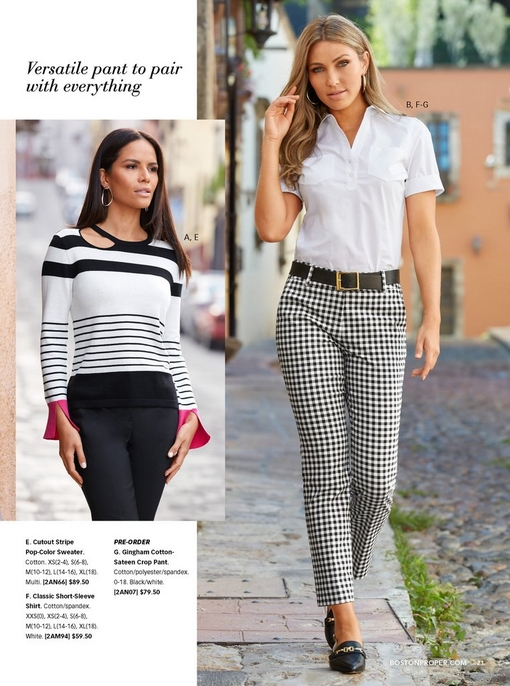 left model wearing a black and white stripe cutout sweater with pink flare sleeves and black cotton sateen pants. right model wearing a white short sleeve button-down top, black belt, black and white gingham cotton sateen crop pants, and chain-buckle slingback flats.