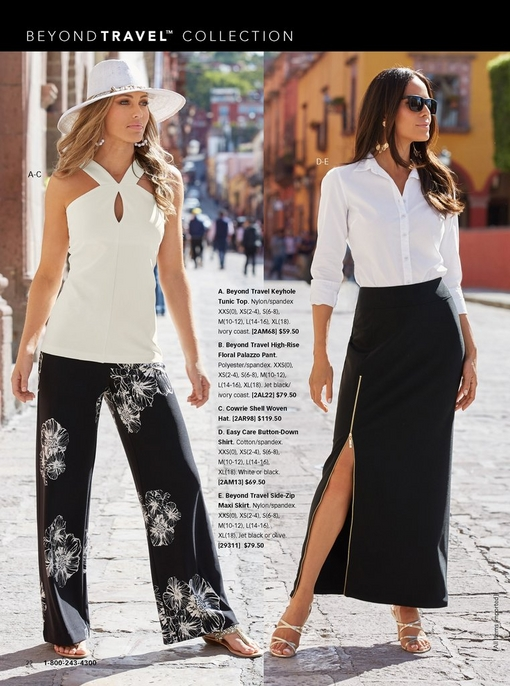 left model wearing a white keyhole sleeveless top, a white woven hat with shell embellishments, black and white floral palazzo pants, and embellished sandals. right model wearing a white button-up shirt, black maxi skirt, gold strappy heels, and sunglasses.