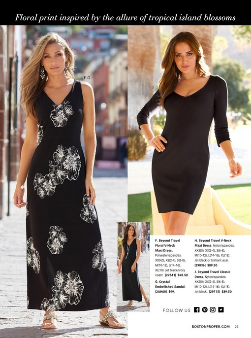 left model wearing a black and white floral print maxi dress with embellished sandals. right model wearing a classic three-quarter sleeve dress in black. small silo of a black maxi dress.