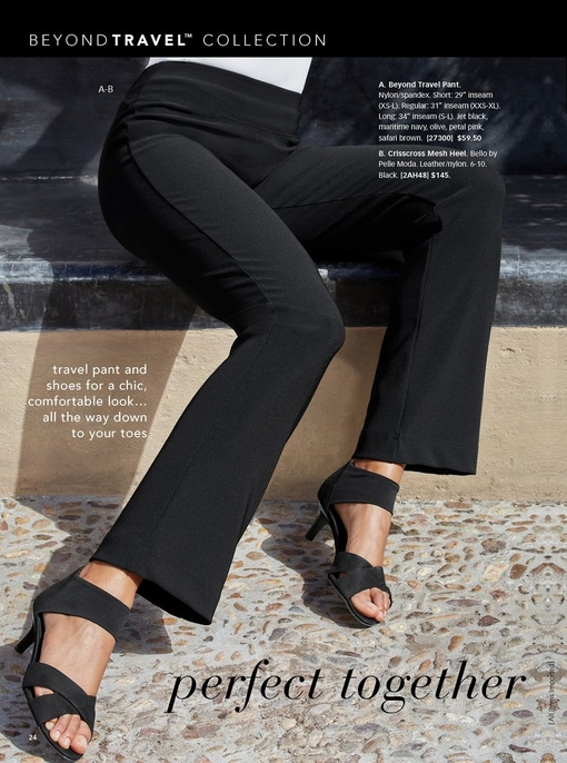 model wearing black travel pants and black crisscross mesh heels.
