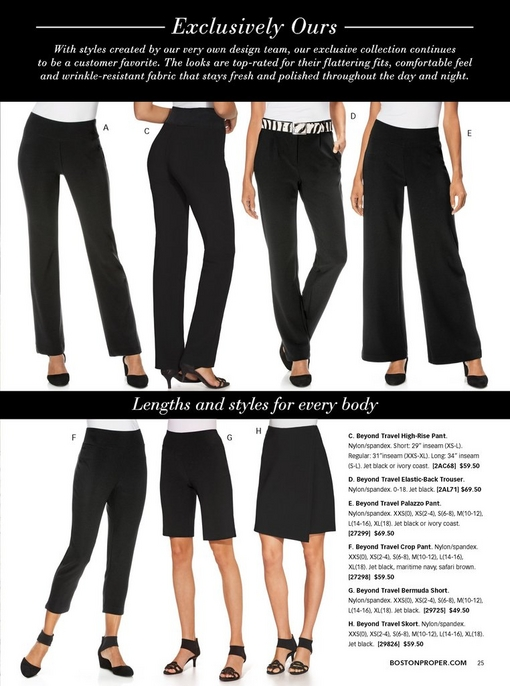 left to right: black travel pant, black high-waisted travel pants, black travel trousers with zebra belt, black travel palazzo pants, black travel crop pants, black travel bermuda shorts, black travel skort.