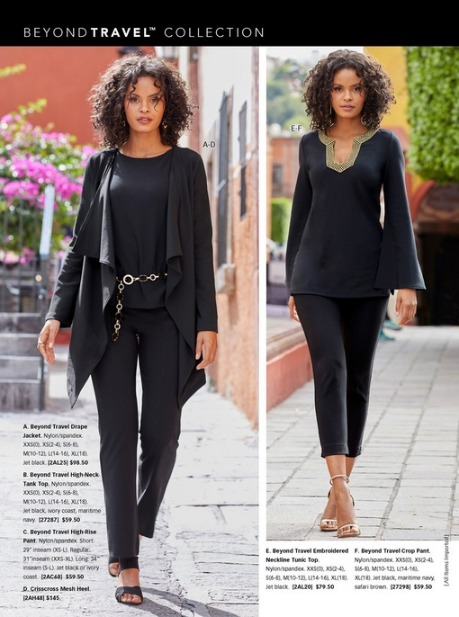 left model wearing a black drape jacket, black high-neck tank top, black high-rise pants, and black heels. right model wearing a black tunic top with a gold embroidered neckline, black crop pants, and simple gold heels.