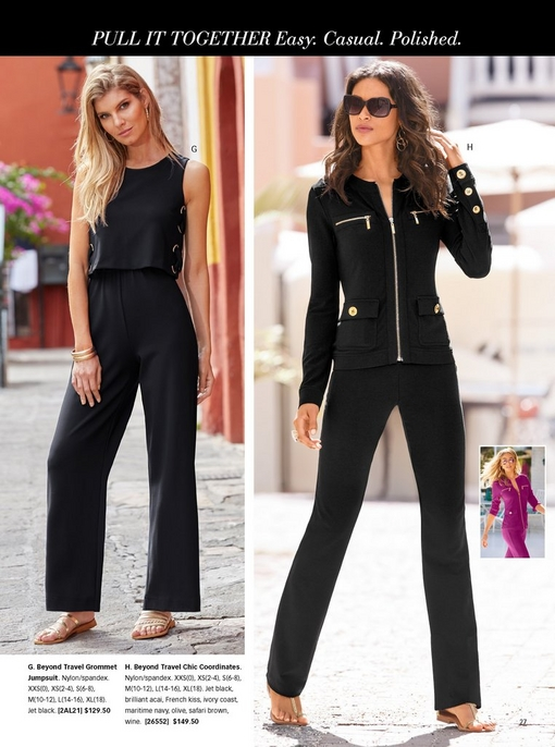 left model wearing a black grommet jumpsuit and gold strappy sandals. right model wearing black chic coordinates with sunglasses and sandals.