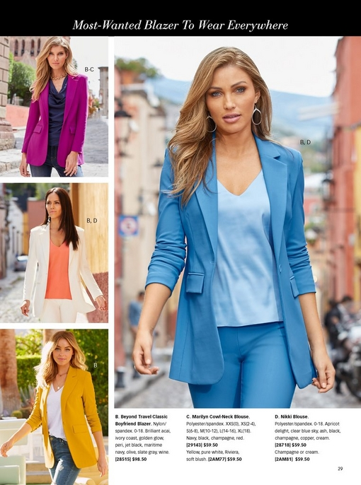 top left: model wearing a purple blazer and navy cowl neck tank top. middle left model wearing a white blazer with a peach colored tank top. bottom left model wearing a mustard colored blazer, white tee shirt, and jeans. right model wearing a light blue blazer, light blue pants, and a light blue tank top with blue tie-dye mule shoes.