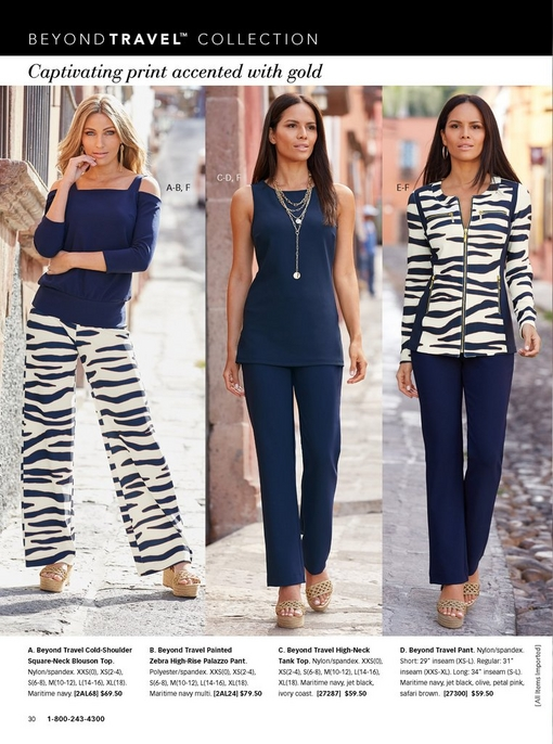 left model wearing a cold-shoulder square-neck blouson top in navy, zebra print high-rise palazzo pant, and metallic espadrille wedges. middle model wearing a navy high-neck tank top, navy travel pants, layered gold chain necklace, and metallic espadrille wedges. right model wearing a zebra print two-piece warm-up with metallic espadrille wedges.