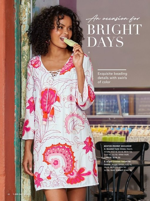 model eating a popsicle while wearing a beaded tunic dress in pink, orange, and white.