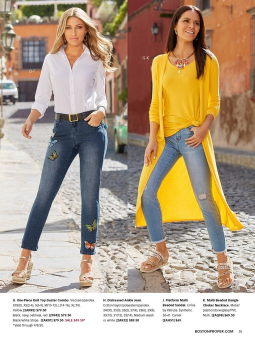 left model wearing a white button-up shirt, butterfly patch embellished jeans, and metallic espadrille wedges. right model wearing a one-piece knit top duster combo in yellow, distressed ankle jeans, beaded dangle choker, and platform beaded sandals.