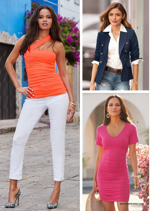 left model wearing an asymmetric strap ruched top in neon coral, white denim jeans, and blue snake print pumps. top right model wearing a navy blazer, white button up top, and distressed jeans.bottom right model wearing a pink ruched t-shirt dress.