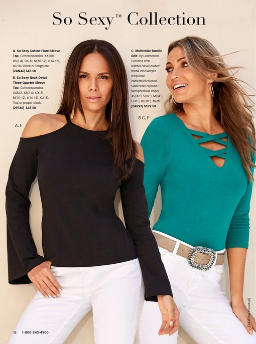 left model wearing a black cutout flare sleeve top and white denim jeans. right model wearing a turquoise criss cross neck detail thee-quarter sleeve top, white denim jeans, and multicolor buckle belt.