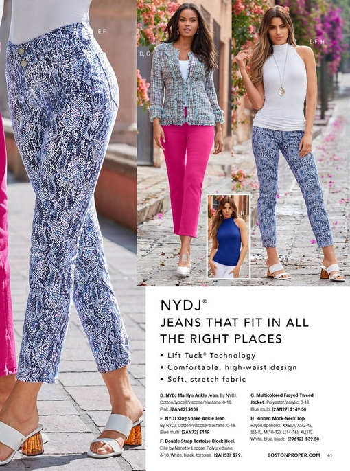 left panel shows nydj in blue snake print with white tortoise block heels. right: left model wearing a multicolored frayed-tweed jacket, white tank top, pink jeans, white vinyl heels. right model wearing a white ribbed mock-neck top, blue snake print jeans, and white tortoise block heels.