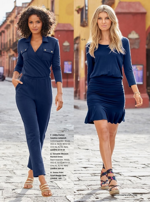 left model wearing a navy blue utility pocket surplice jumpsuit and gold strappy sandals. right model wearing a navy blue blouson ruched dress and scarf wedges.