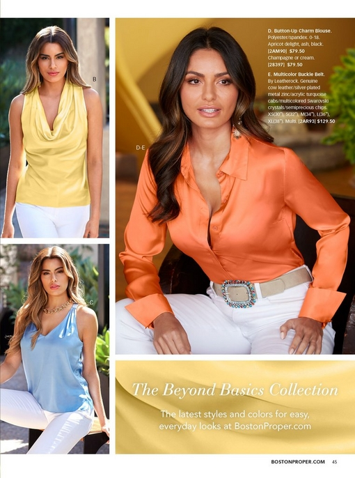 top left model wearing a yellow cowl neck tank top and white pants. bottom right model wearing a light blue v-neck tank top and white pants. right models wearing an apricot colored charm blouse and white jeans.